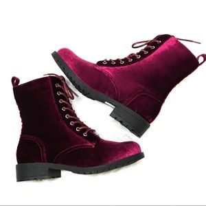 Shoes - timberly burgundy velvet boots